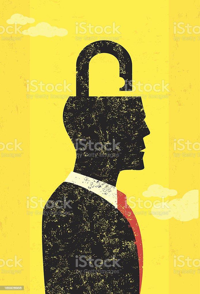 Unlocking the mind royalty-free stock vector art
