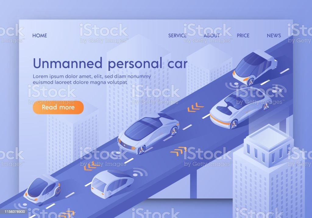 Unmanned Personal Car Banner. Autonomous Smart Cars Traffic Scanning...