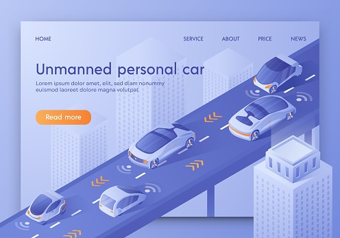 Unmanned Personal Car Banner. Future Technology