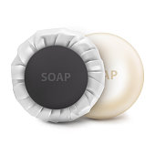 UNn Vector. Mock Up. White round hotel Soap