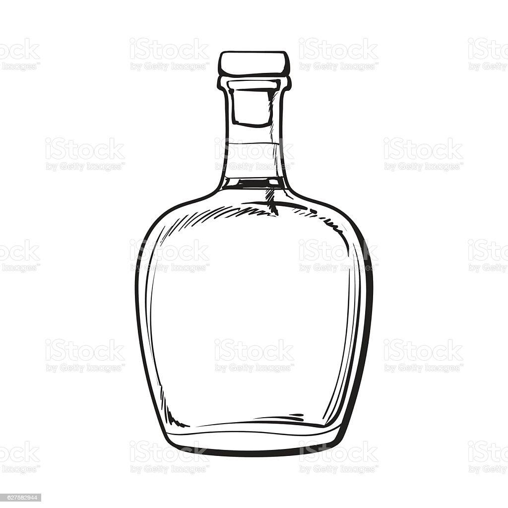 Unopened Unlabeled Full Whiskey Bottle Stock Vector Art