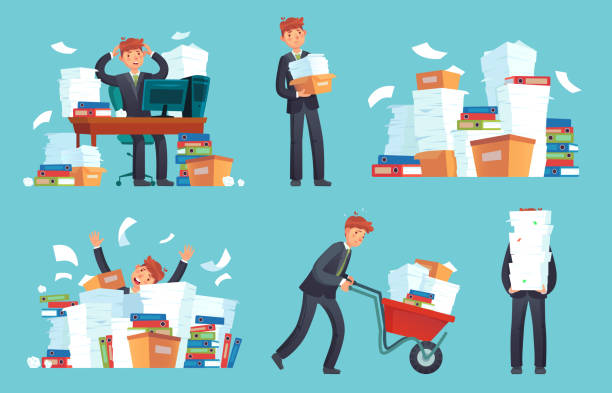 Unorganized office papers. Businessman overwhelmed work, messy paper documents pile and files stack cartoon vector illustration Unorganized office papers. Businessman overwhelmed work, messy paper documents pile and files stack. Unfinished office document work, stressed businessman cartoon vector illustration set overworked stock illustrations