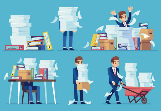 illustrazioni stock, clip art, cartoni animati e icone di tendenza di unorganized office work. accounting paper documents piles, disarray in files on accountant table. routine paperwork vector concept - disordinato