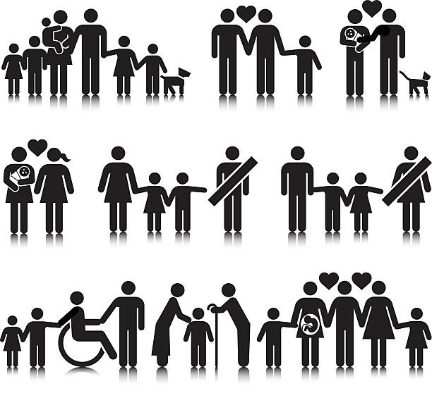 Unorthodox Families Unorthodox vectored families. This format can be blown up to any size without loss of quality. same sex couples stock illustrations