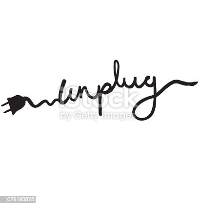 Unplug text, logo, symbol - potential design for a t-shirt print, vector illustration isolated on white background