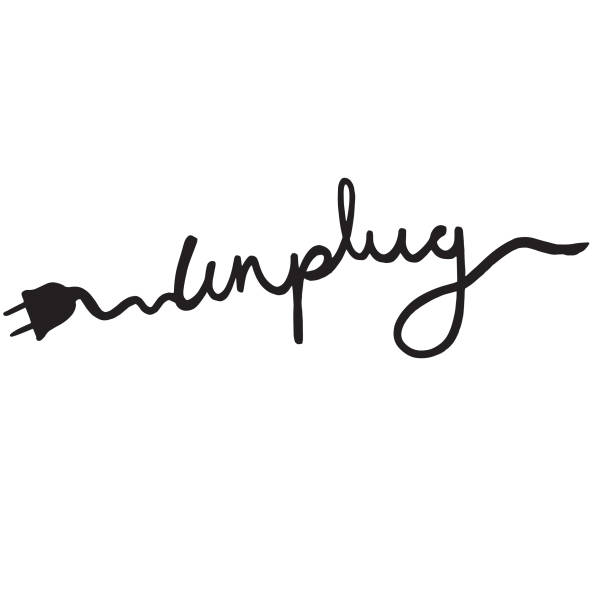 Unplug text, logo, symbol Unplug text, logo, symbol - potential design for a t-shirt print, vector illustration isolated on white background wired stock illustrations