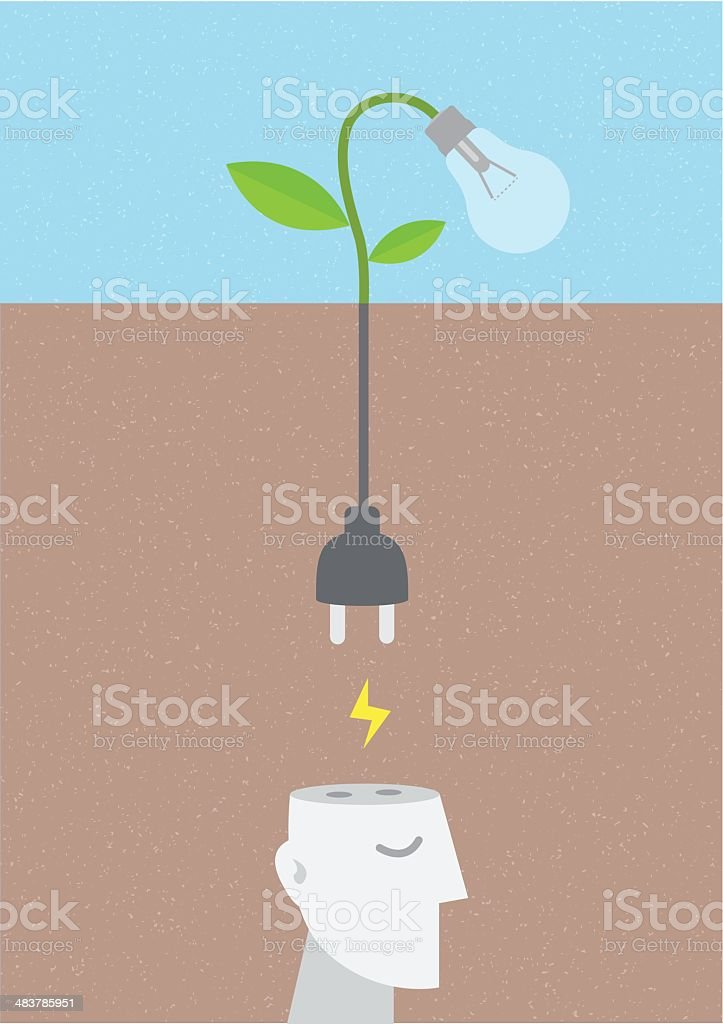 Unplugged Brain from Idea royalty-free stock vector art
