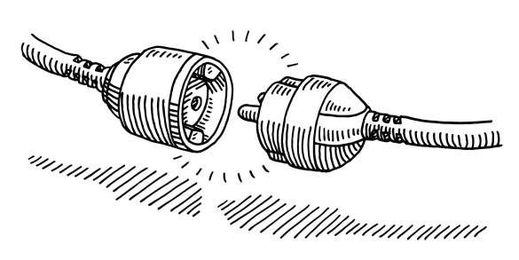 Hand-drawn vector drawing of an Unplugged Power Cable. Black-and-White sketch on a transparent background (.eps-file). Included files are EPS (v10) and Hi-Res JPG.