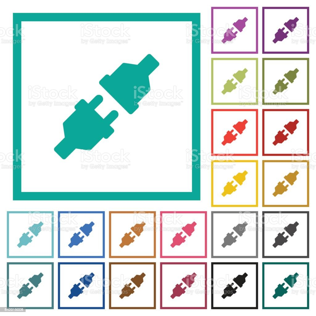 Unplugged Power Connectors Flat Color Icons With Quadrant Frames ...