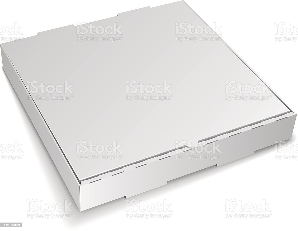 Unprinted pizza delivery box against a white background royalty-free stock vector art