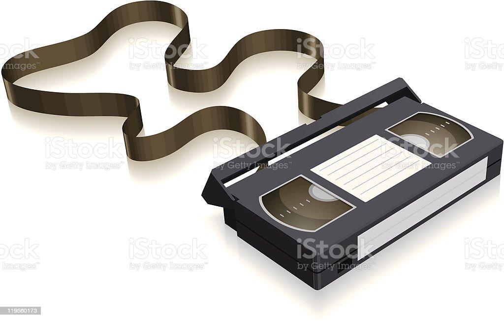 unraveled VHS cassette tape vector art illustration