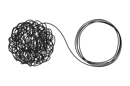 Unraveling tangled tangle. Psychotherapy concept. Metaphor of problem solving, chaos and mess, difficult situation. Psychologist unravels tangled tangle untangled. Vector