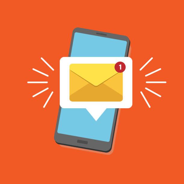 ilustrações, clipart, desenhos animados e ícones de notificação de email não lidas. nova mensagem na tela do smartphone. ilustração em vetor. alerta de e-mail amarelo. isolado em fundo colorido. - fontes de bolha