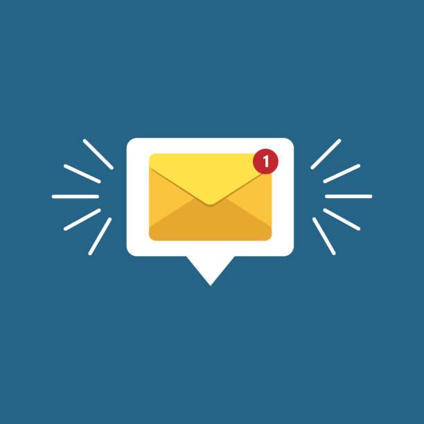 illustrazioni stock, clip art, cartoni animati e icone di tendenza di unread email notification. new message vector illustration. yellow email alert. isolated on colorful background. - email
