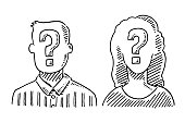 Hand-drawn vector drawing of Unrecognizable People with a Question Mark Symbol. Black-and-White sketch on a transparent background (.eps-file). Included files are EPS (v10) and Hi-Res JPG.