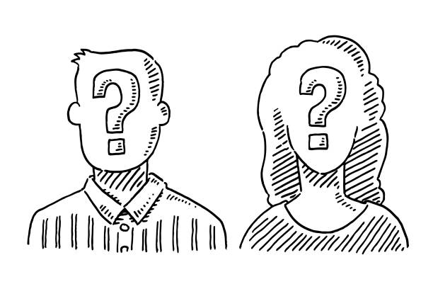 Unrecognizable People Question Mark Symbol Drawing Hand-drawn vector drawing of Unrecognizable People with a Question Mark Symbol. Black-and-White sketch on a transparent background (.eps-file). Included files are EPS (v10) and Hi-Res JPG. women stock illustrations