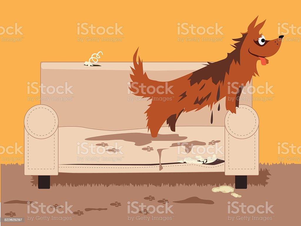 Unruly dog vector art illustration