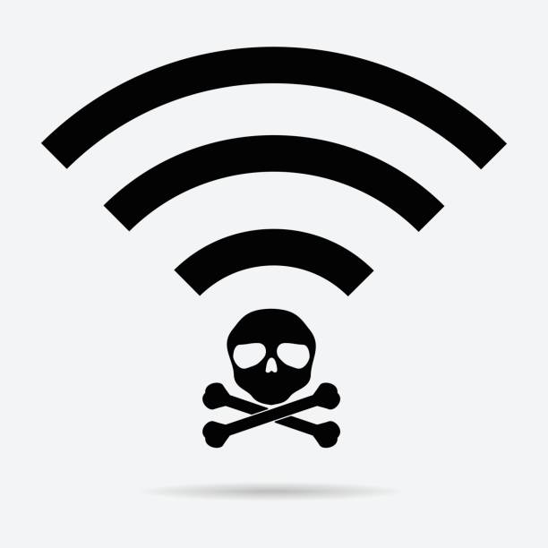 Unsecured public wireless hotspot icon design. Vector illustration business cybercrime concept. vector art illustration