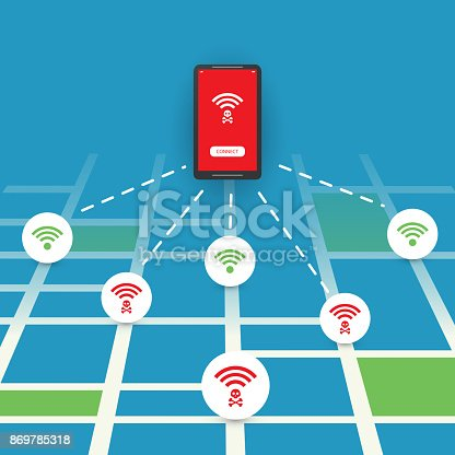 Colorful Wifi Access Point Breach, Exploit, Vulnerability, Cyber Crime, Man in the Middle Attack, IT Security, Technology Concept Design - Illustration in Editable Vector Format