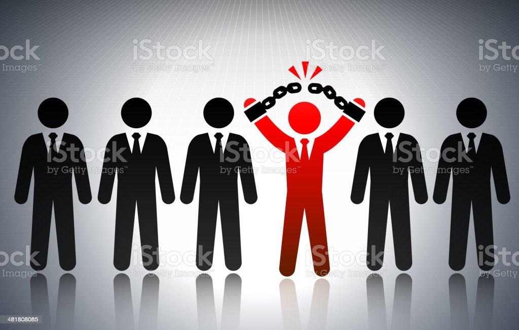 Unshackle Business Success Concept Stick Figures vector art illustration