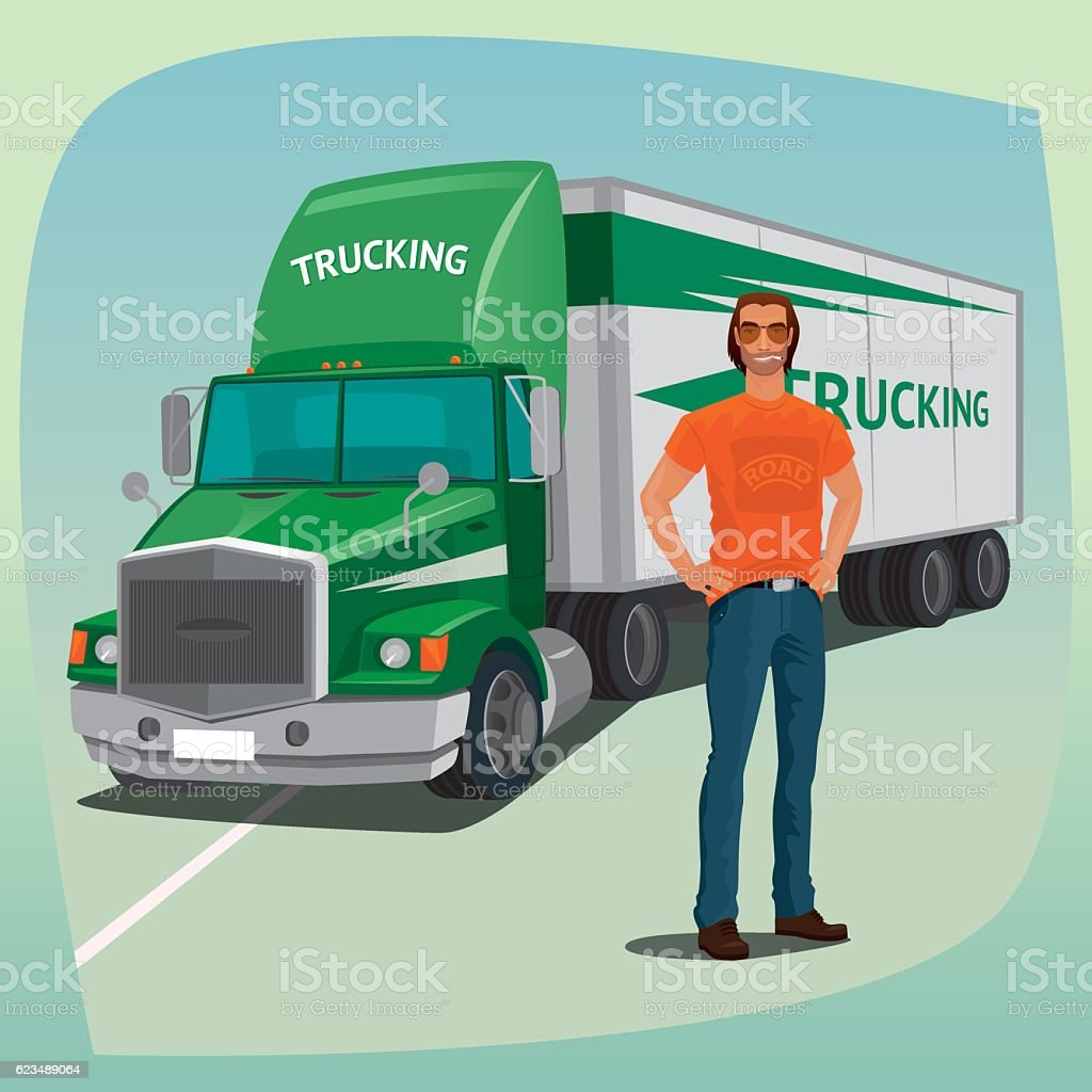 Unshaved driver and streamlined cab box truck vector art illustration