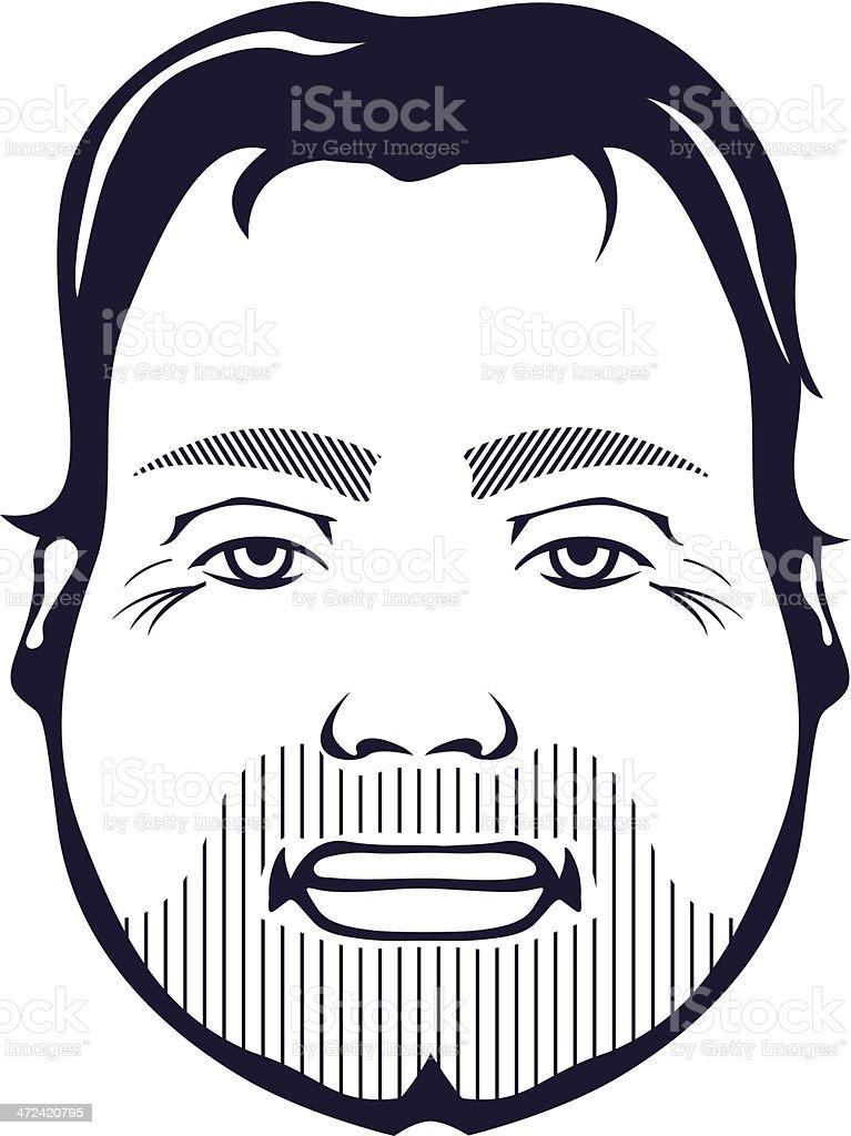 Unshaved man vector art illustration