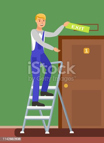 Unskilled Worker on Ladder Vector Illustration. Handyman Hanging Exit Sign Cartoon Character. Builder in Uniform, Jumpsuit on Folding Stairs. Designer Finishing Interior Decoration