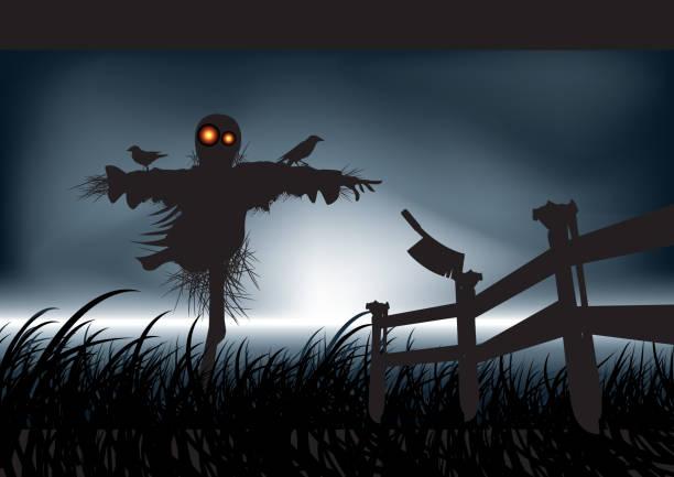 ilustraciones, imágenes clip art, dibujos animados e iconos de stock de inenarrable horror-espantapájaros - straw field