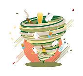 Unstoppable Bad Habits swirl, Addicition Hurricane, vector illustration