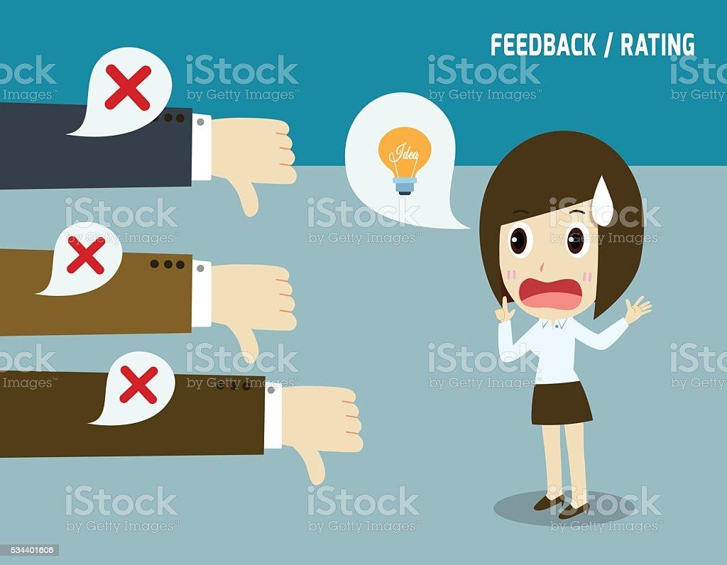Unsuccessful businesswoman.Negative feedback conceptual.Colleagues dislike that idea.not accepted vector art illustration