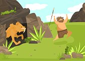 istock Unsuccessful hunting, character male, saber toothed tiger from cave attack man with spear, flat vector illustration. Ancient tribe on hunt. 1218775876