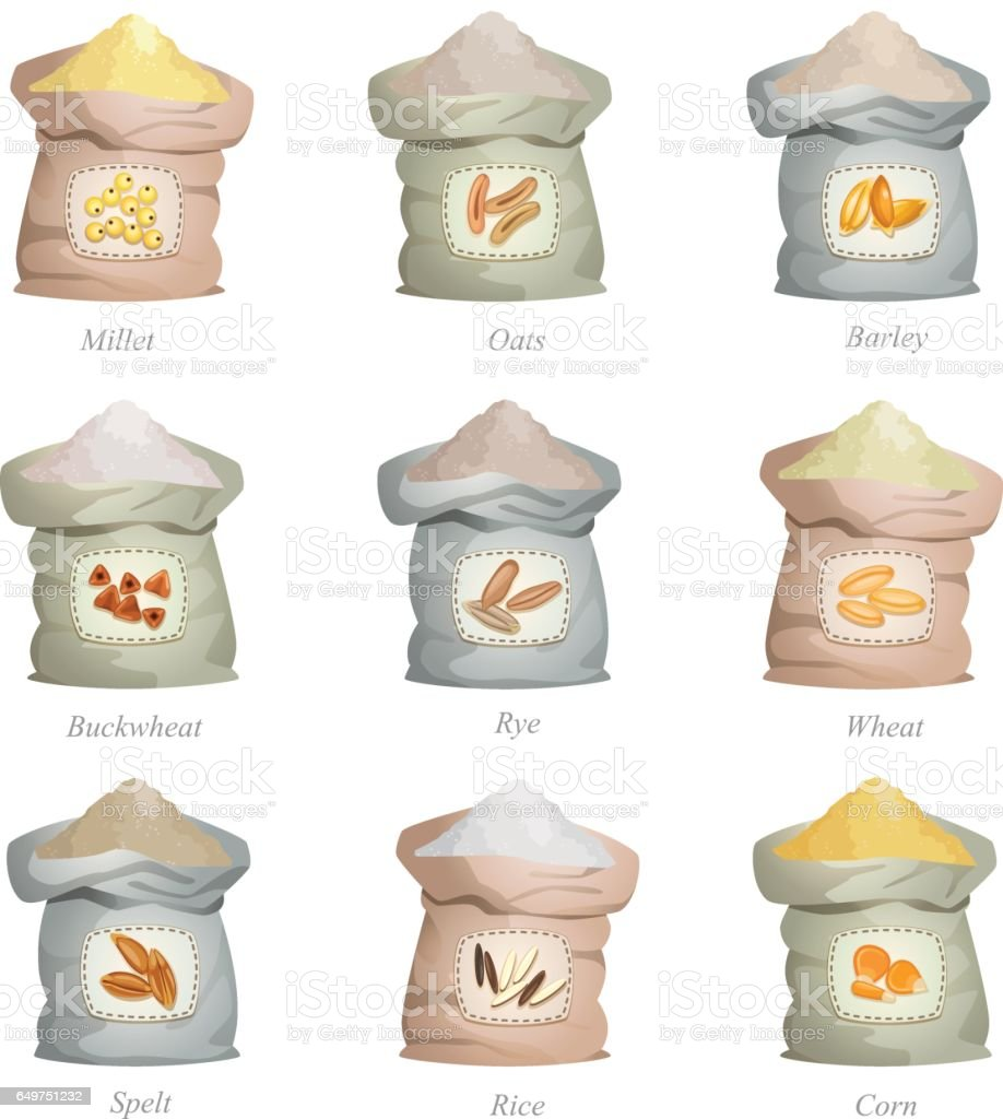 Untied sacks with cereal flour and with labels on them
