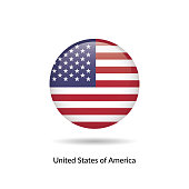 Untied States of America flag - round glossy