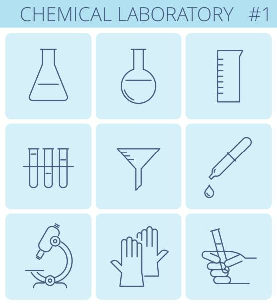 Untitled-1 Chemical laboratory equipment outline icons: glass test tube, lab beaker, flask, rubber medical gloves. Vector thin line science symbol set. Isolated infographic elements for web, social network. dna test stock illustrations
