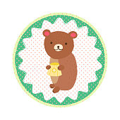 Cute bear with honey. Vector round icon sticker with a polka-dot pattern in cartoon style for print design of children s banners, postcards, posters, booklets.