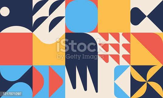 istock Unusual Abstract Geometric Artwork Composition 1217571297