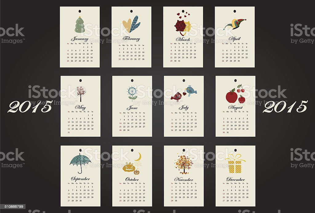 Calendar Design Drawing : Unusual calendar year design with symbols month stock