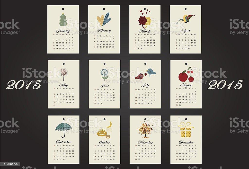 Calendar Drawing Design : Unusual calendar year design with symbols month stock