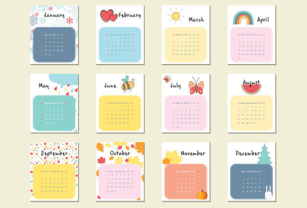 unusual calendar 2017 in cartoon style - birds calendar stock illustrations, clip art, cartoons, & icons