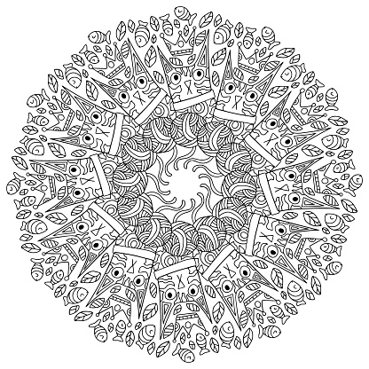 Unusual cat black and white mandala coloring page vector