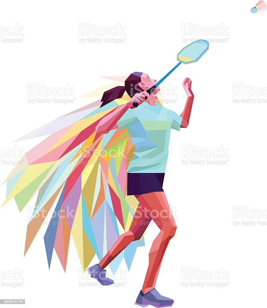 Unusual colorful triangle athlete. Geometric polygonal professional female badminton player - ilustração de arte vetorial