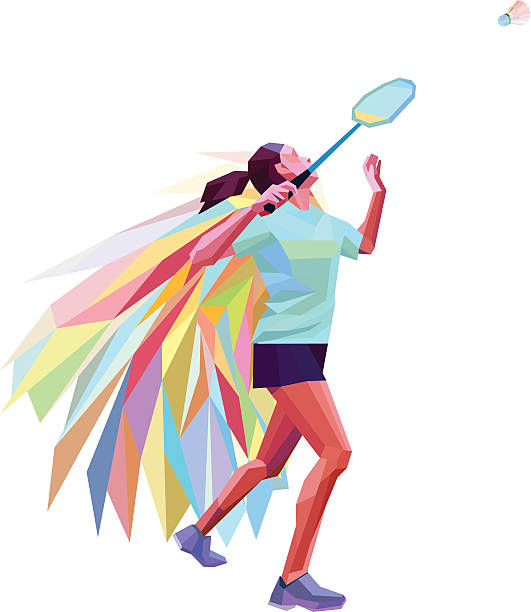 ilustraciones, imágenes clip art, dibujos animados e iconos de stock de unusual colorful triangle athlete. geometric polygonal professional female badminton player - bádminton deporte