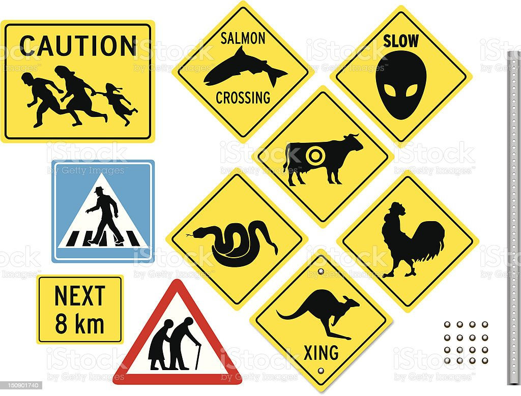Unusual Crossing Signs vector art illustration