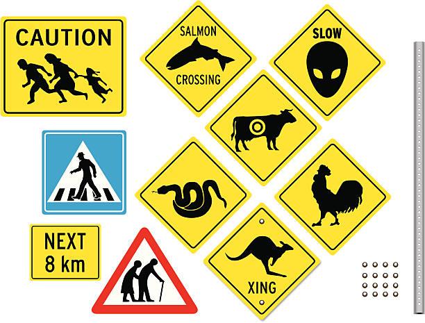 unusual crossing signs - crossing stock illustrations, clip art, cartoons, & icons