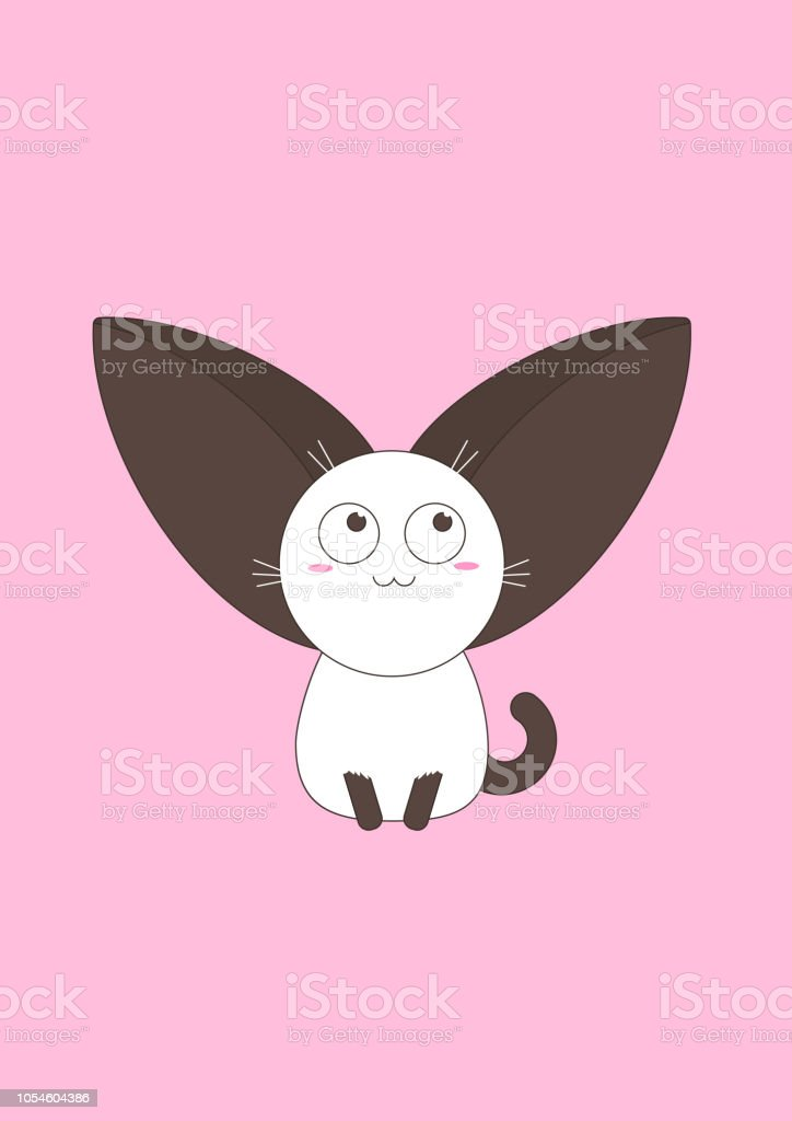 unusual cute kitten with big ears on a pink background. vector illustration vector art illustration