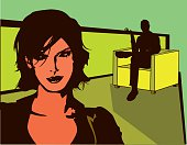 Illustration of a man staring at a woman in a bar.