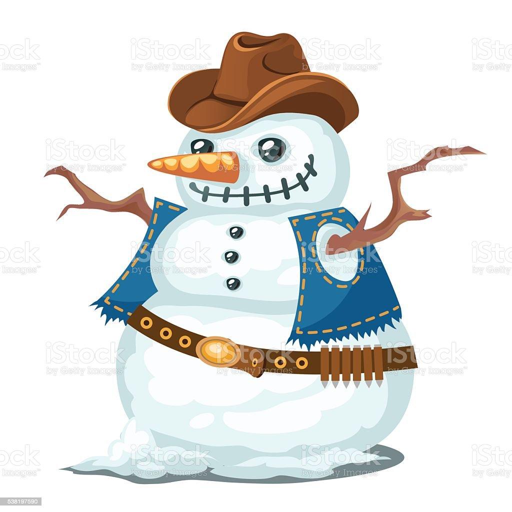 Insolito pupazzo di neve con cappello e gilet in stile cowboy insolito  pupazzo di neve con 46c5723ae0cc