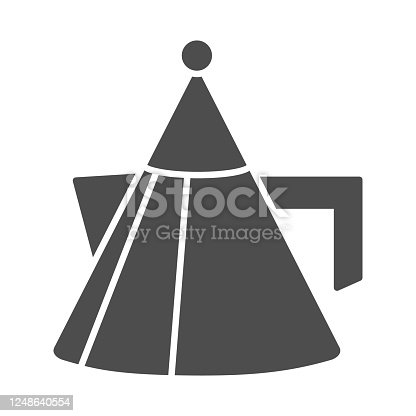 Unusual teapot or coffee pot solid icon, kitchenware concept, modern kettle sign on white background, cone shaped teapot icon in glyph style for mobile concept, web design. Vector graphics