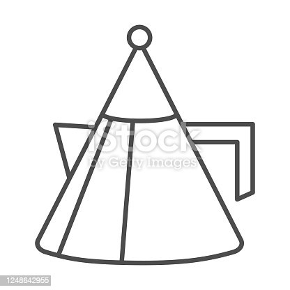 Unusual teapot or coffee pot thin line icon, kitchenware concept, modern kettle sign on white background, cone shaped teapot icon in outline style for mobile concept, web design. Vector graphics