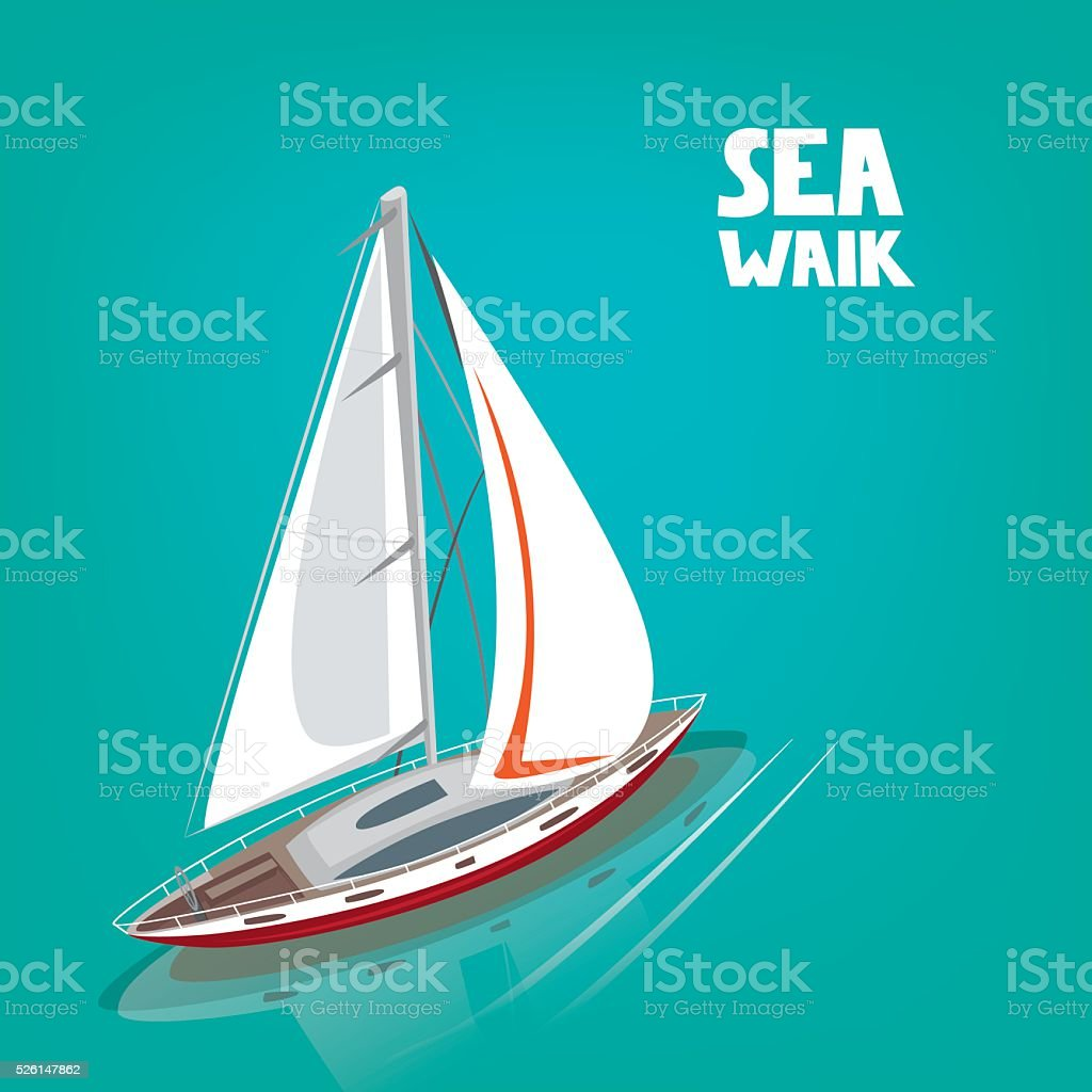 Unusual view from above on a sailing yacht vector art illustration